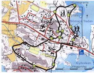 Nagu village map showing the local walk way