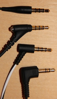 In-ear headset for the iPhone - Connectors, top to bottom: Klipsch, V-Moda, Bose, Sennheiser