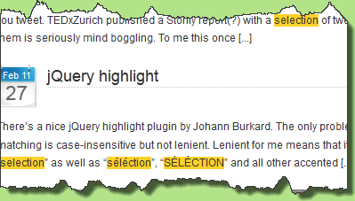 Shows how the jQuery highlight plugin is used by this blog's search
