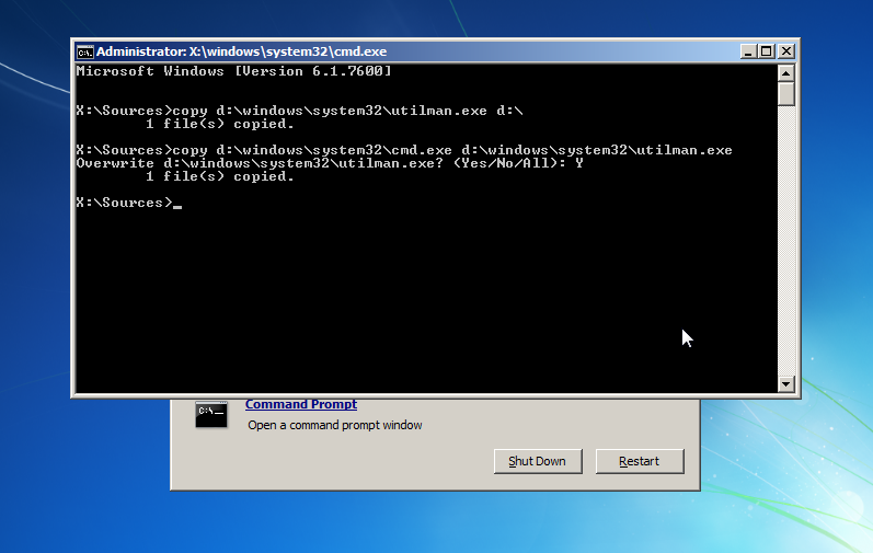 Reset Windows 7 password using the command prompt from installation DVD