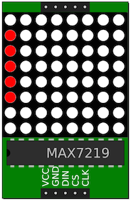 MAX7219 8x8 LED matrix displaying 0x3E