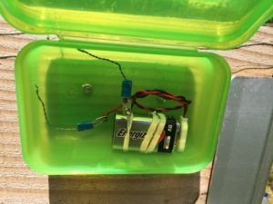 Keep slugs out of your raised bed by attaching 9V to the two wire rings