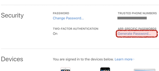 Apple-ID generate app-specific password